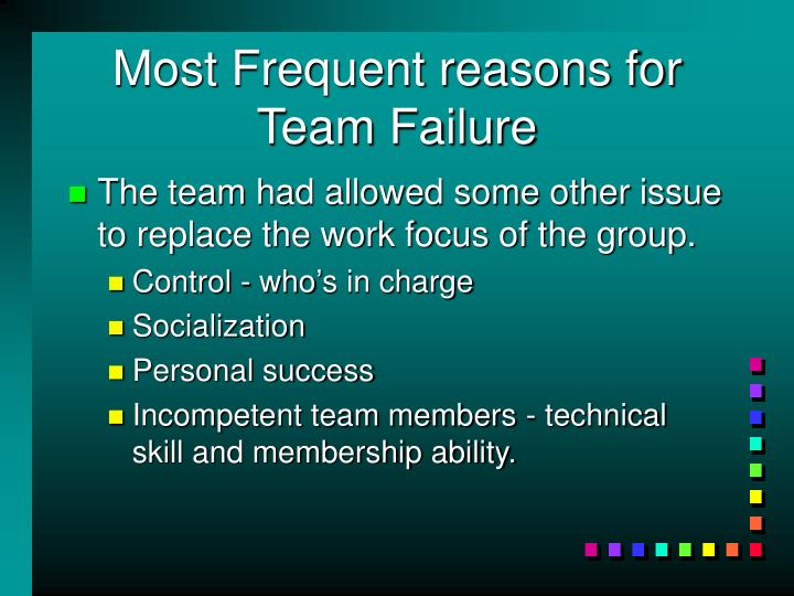 Most Frequent reasons for Team Failure