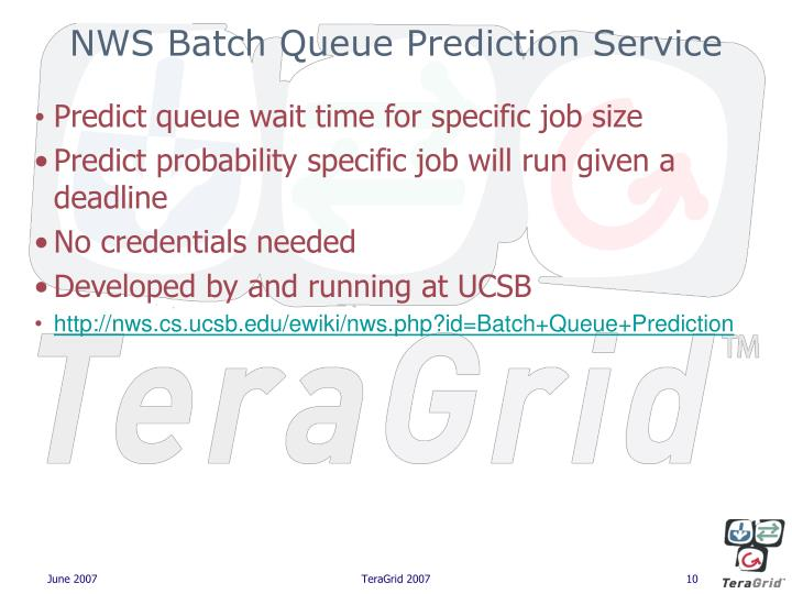 NWS Batch Queue Prediction Service