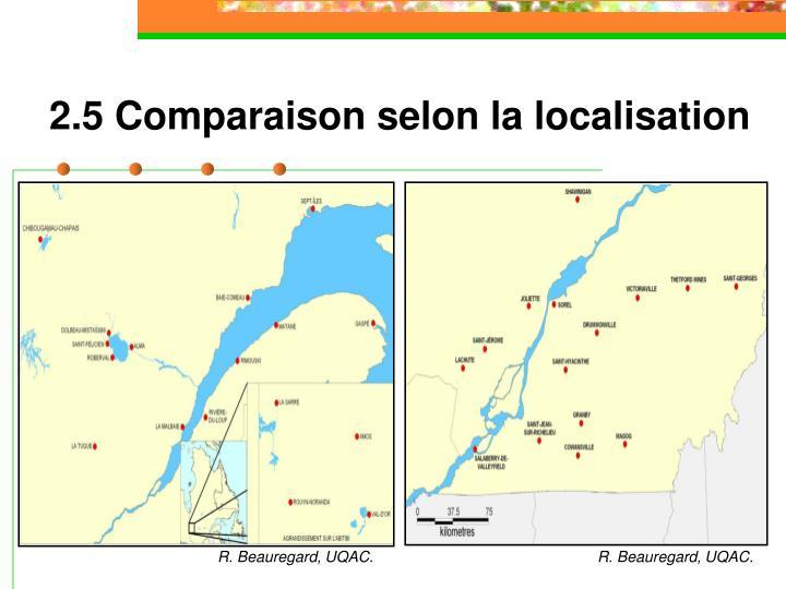 2.5 Comparaison selon la localisation