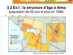 3 2 ex i la structure d ge alma population de 55 ans et plus en 1996