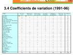3 4 coefficients de variation 1991 96