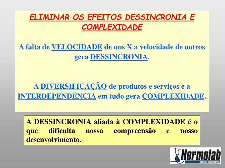 ELIMINAR OS EFEITOS DESSINCRONIA E COMPLEXIDADE