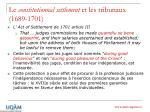le constitutionnal settlement et les tribunaux 1689 1701