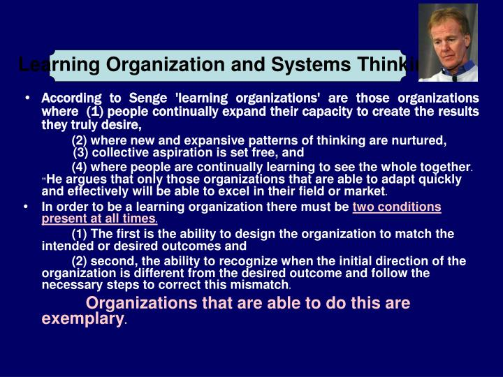Learning Organization and Systems Thinking