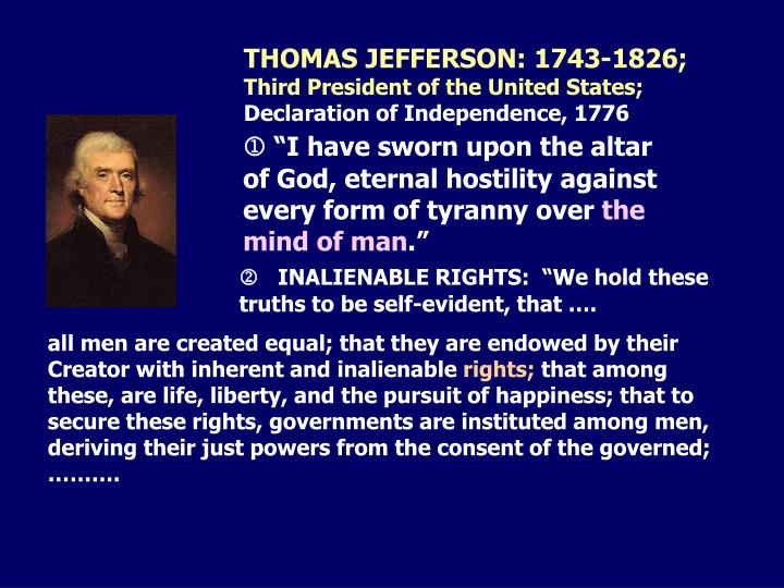 THOMAS JEFFERSON: 1743-1826;