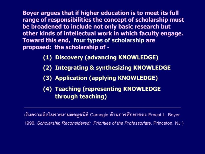 Boyer argues that if higher education is to meet its full range of responsibilities the concept of scholarship must be broadened to include not only basic research but other kinds of intellectual work in which faculty engage. Toward this end,