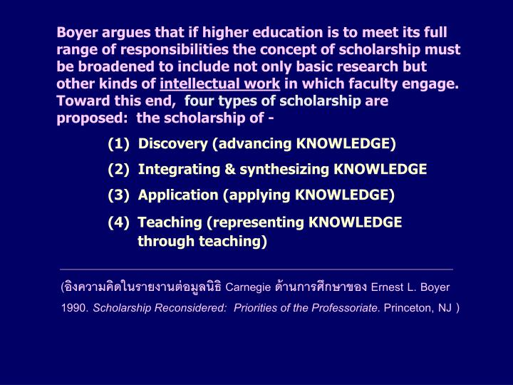 Boyer argues that if higher education is to meet its full range of responsibilities the concept of scholarship must be broadened to include not only basic research but other kinds of