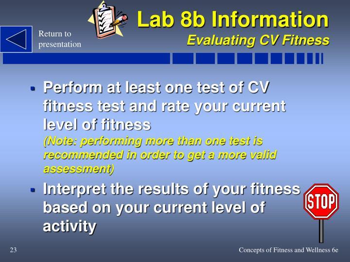 Lab 8b Information