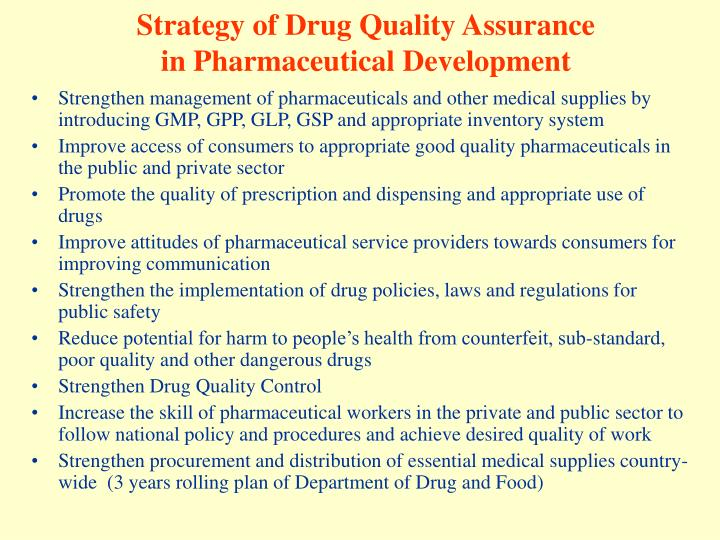 Strategy of Drug Quality Assurance