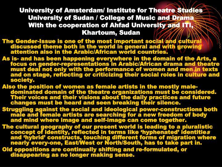 University of Amsterdam/ Institute for Theatre Studies