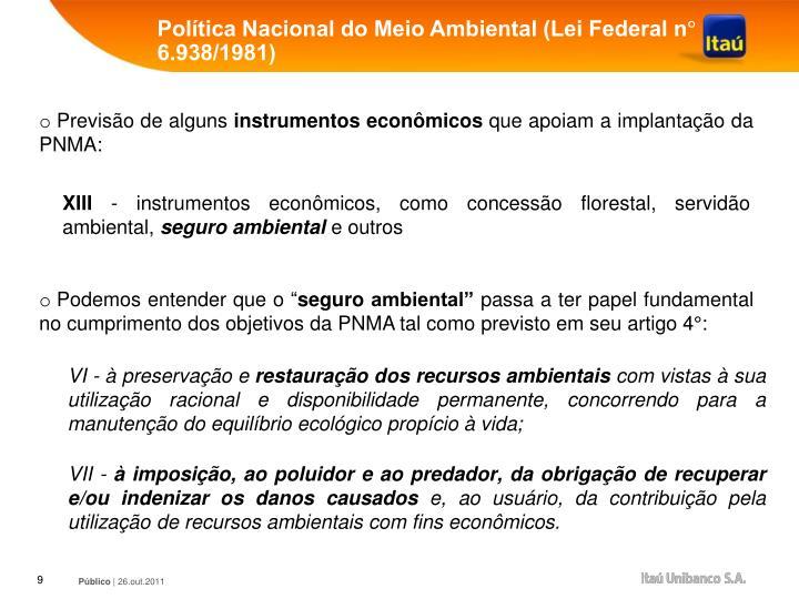 Política Nacional do Meio Ambiental (Lei Federal n° 6.938/1981)