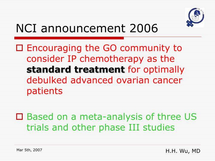 NCI announcement 2006