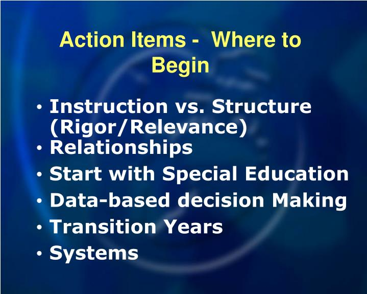 Action Items -  Where to Begin
