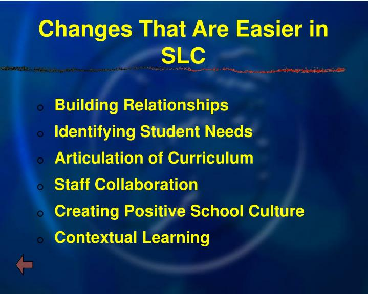 Changes That Are Easier in SLC