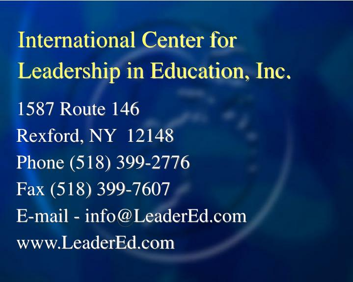 International Center for Leadership in Education, Inc