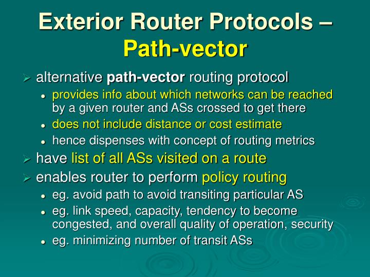 Exterior Router Protocols –