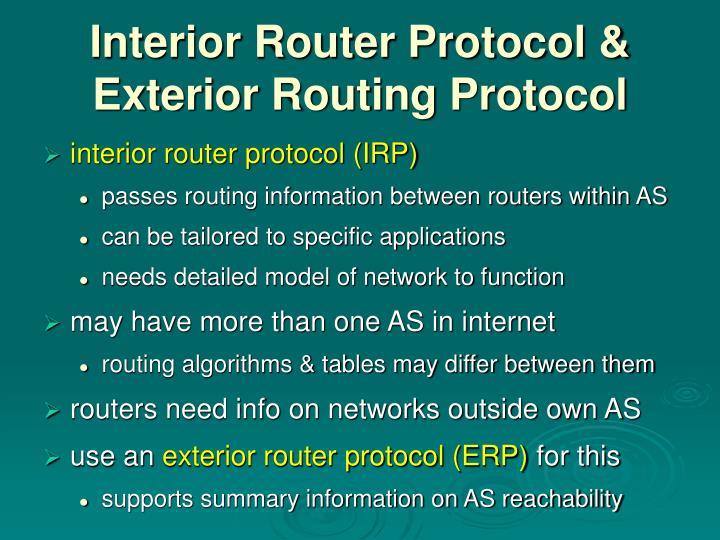 Interior Router Protocol &