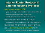 interior router protocol exterior routing protocol