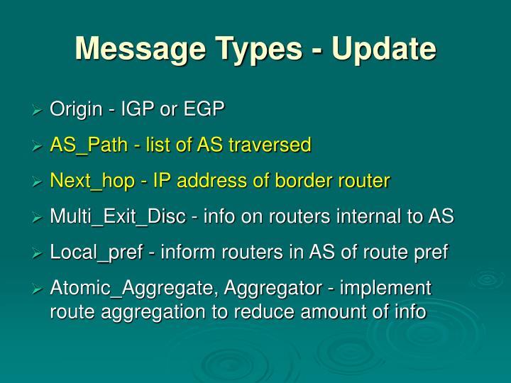 Message Types - Update