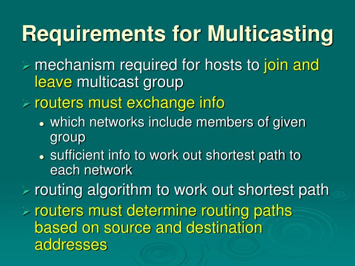 Requirements for Multicasting