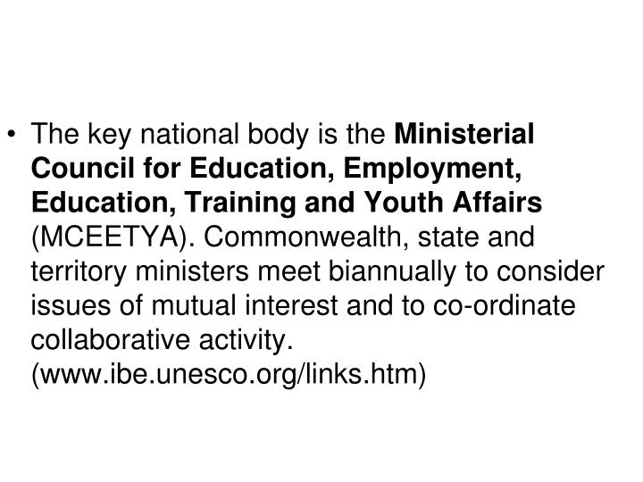 The key national body is the