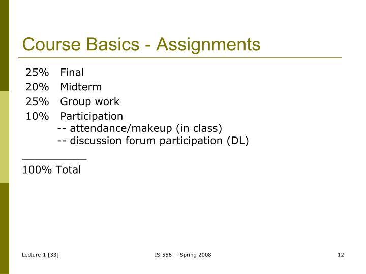Course Basics - Assignments