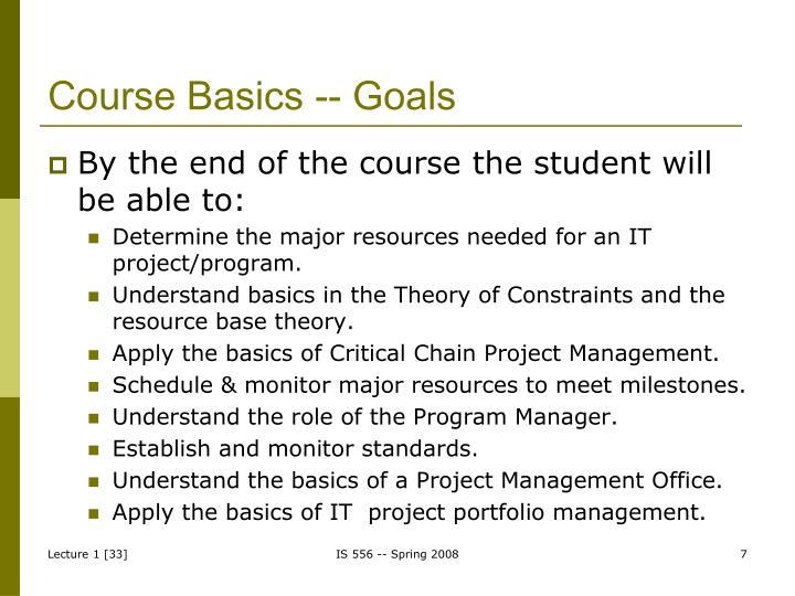Course Basics -- Goals