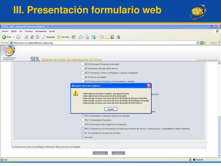 III. Presentación formulario web