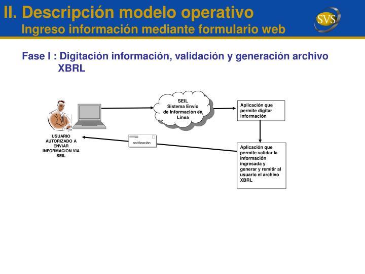Fase I : Digitación información, validación y generación archivo XBRL