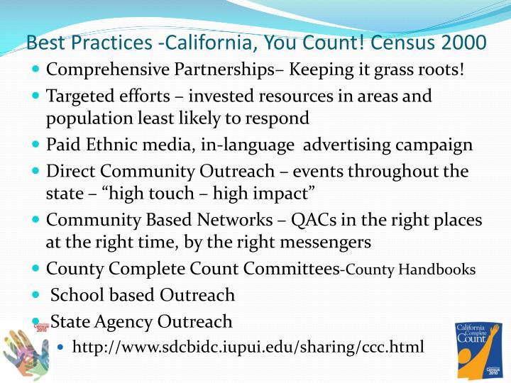 Best Practices -California, You Count! Census 2000