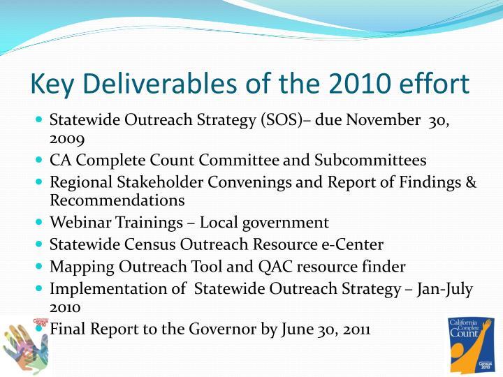 Key Deliverables of the 2010 effort