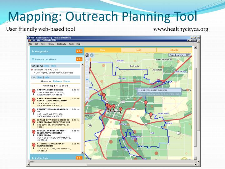 Mapping: Outreach Planning Tool