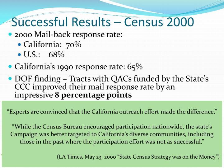 Successful Results – Census 2000