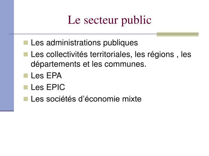 Le secteur public