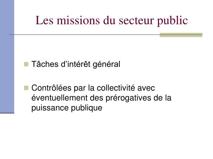 Les missions du secteur public