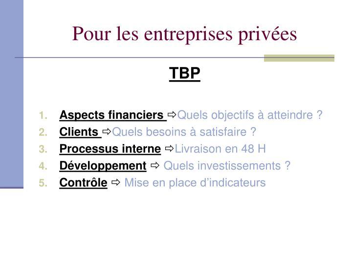 Pour les entreprises privées
