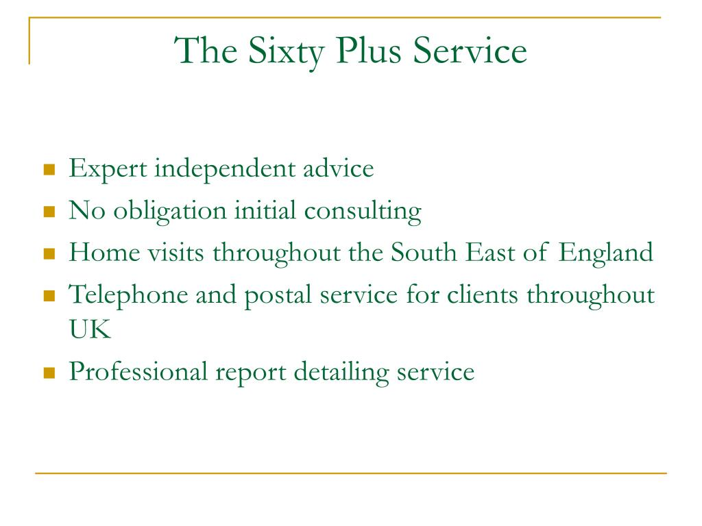 The Sixty Plus Service