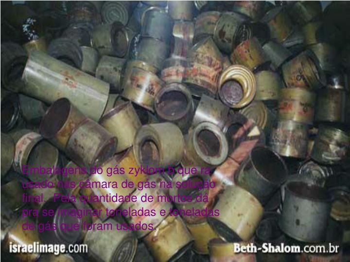 Embalagens do gás zyklom b que ra usado nas câmara de gás na solução final.  Pela quantidade de mortos dá pra se imaginar toneladas e toneladas de gás que foram usados.