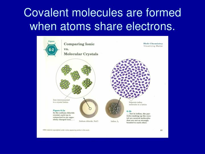 Covalent molecules are formed when atoms share electrons.