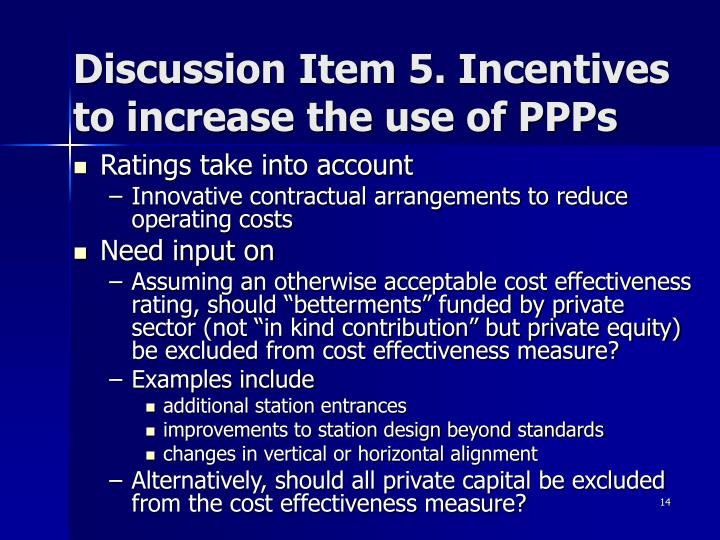 Discussion Item 5. Incentives to increase the use of PPPs