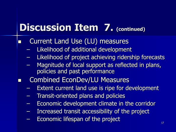 Discussion Item  7.