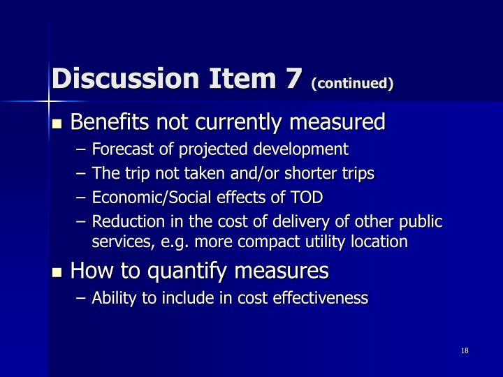 Discussion Item 7