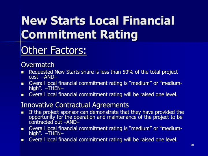 New Starts Local Financial Commitment Rating