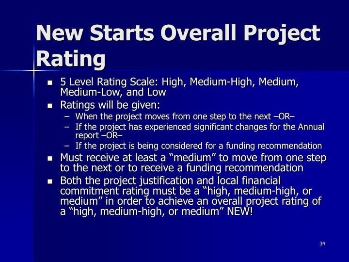 New Starts Overall Project Rating