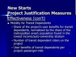 new starts project justification measures4