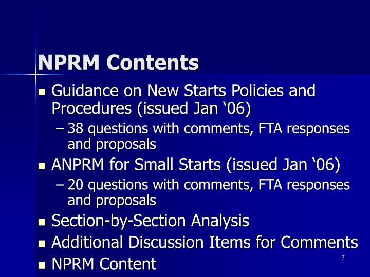 NPRM Contents