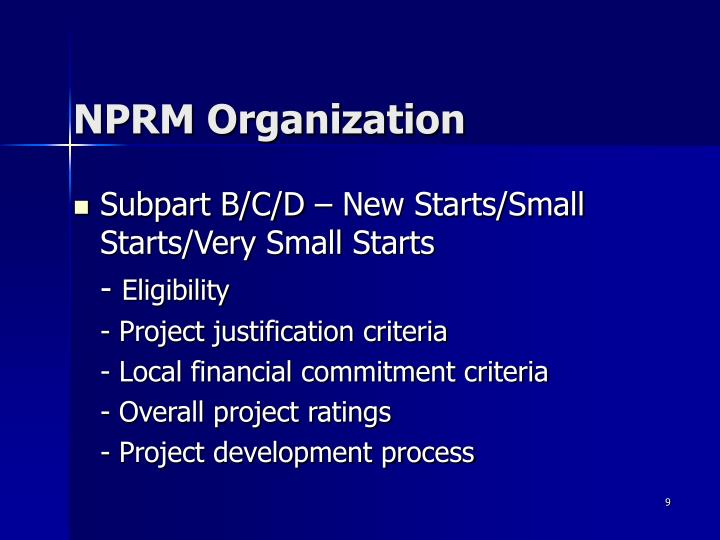 NPRM Organization