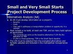 small and very small starts project development process