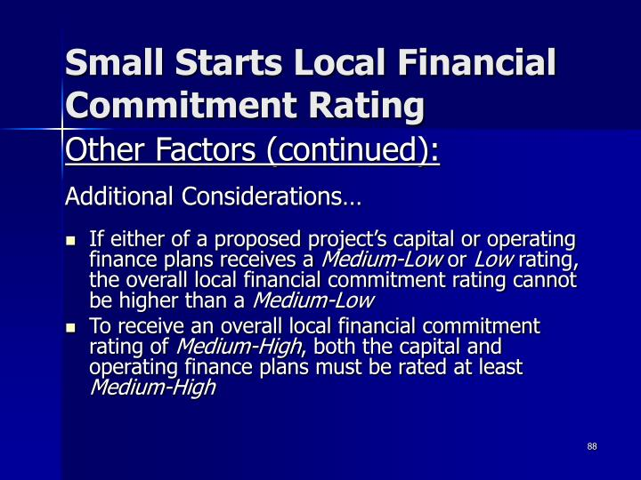 Small Starts Local Financial Commitment Rating
