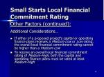 small starts local financial commitment rating2